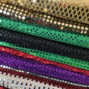 Lurexgeweb bedruckt mit Pailette oder beflockt